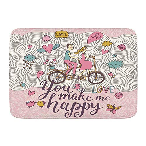 Bath Mat Rug,You Make me Happy Romantic Concept Couple in Love on Tandem Bicycle Inside Gentle symbolsPlush Bathroom Decor Mats with Non Slip Backing,19.5'x31.5'