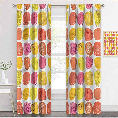 painting-home Curtain Fruits, Retro Food Caricatures Sliding Glass Door Drapes for Villa/Hall/Patio Door W84 x L72 Inch