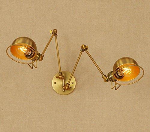 Lampe de mur de fer de bronze de double de lampe de mur de lampe de mur de lampe de mur de style industriel rétro simple, sans ampoule