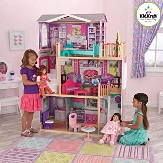 KidKraft Elegant Wooden Doll Manor with 12 Pieces of Furniture for 18