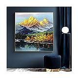 Gran Pintura Al Óleo Abstracta Gruesa Montaña De Oro Al Óleo Pintada A Mano...