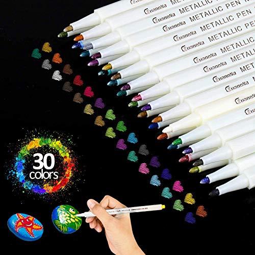 Huttoly Metallic Marker Stifte Set, 30 Farben Premium Metallischen Stift Pens für Kartenherstellung DIY Fotoalbum Gästebuch Hochzeit Papier Glas Kunststoff Stein - Feiner Spitze(1MM) (30 Farben)