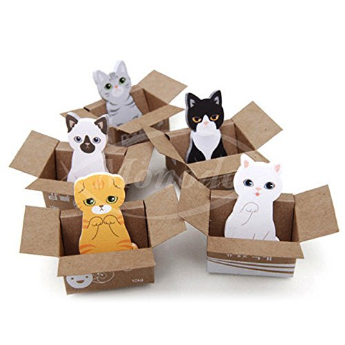 【ノーブランド品】かわいい 箱入り 猫 - ひろって ニャンコ 付箋 - 5種類 x 30枚 豪華150枚 癒しの ネコ ...