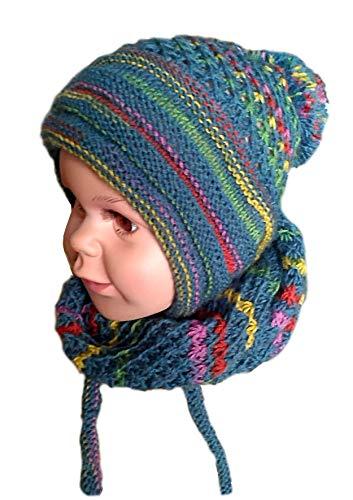 Set aus Wollstrickmütze mit langen Ohren und schalschelle für Mädchen und Jungen.Frühling und Herbst Mütze und Schal für Kinder 2-5 Jahre alt.Blau Hut mit pompon