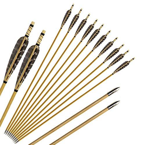Huntingdoor 12 Pcs Turkey Feather Fletching Wooden Arrows...