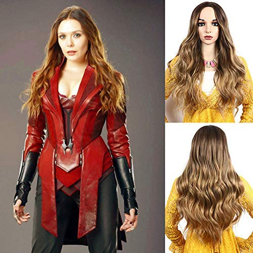 IVY HAIR Scarlet Witch Wanda Maximoff Cosplay Wigs for Women Natural Long Wavy Curly Wig Dark Roots Ombre Blonde Wig Middle Parting Synthetic Replacement Wig