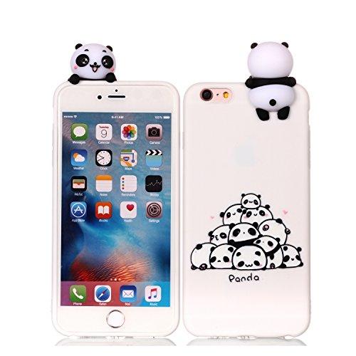 HopMore Funda iPhone 6S / 6 (4.7 Inch) Silicona Motivo 3D Divertidas (Panda Unicornio) TPU Gel Kawaii Ultrafina Slim Case Antigolpes Caso Protección Flexible Cover Design Gracioso - Panda