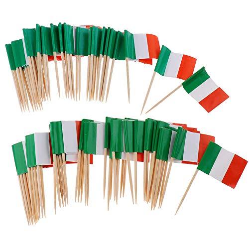 Ruiting Mini-Flagge Zahnstocher 100Pcs Italien-Flaggen-Kuchen Auswahl Internationale Events Cocktail-Stock-Flagge Obst Lebensmittel Auswahl