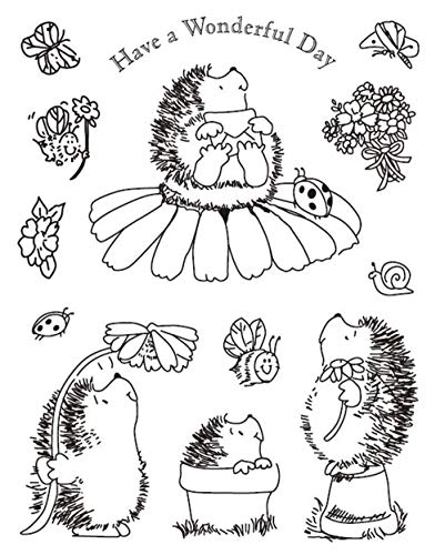 Hebben Een Prachtige Dag Leuke Dier Egel Bloemen Postzegels Elegante Vrouwen Rubber Heldere Postzegel/Seal Scrapbook/Foto Decoratieve Kaart Maken Clear Stamp