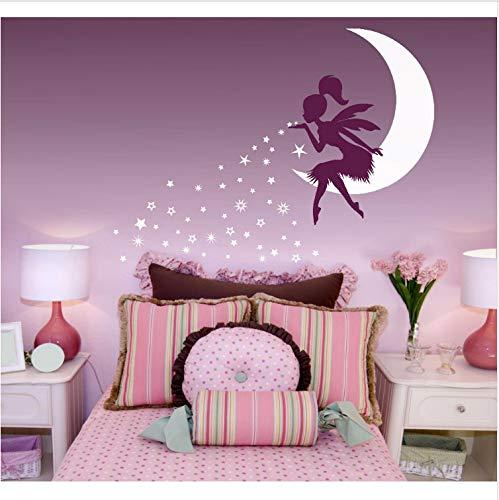 asfrata265 Pegatinas De Pared Fairy Blowing Stars Vinilos Decorativos para Niños De Kindergarten Cuento De Hadas Vinilos Decorativos Vinilos Decorativos para El Dormitorio Luna Blanca