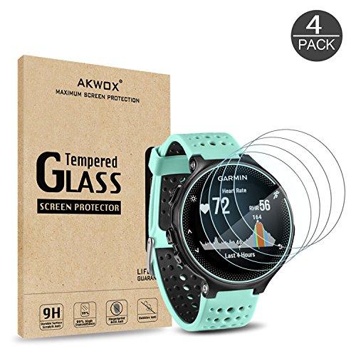 AKWOX [Lot de 4 Protecteurs en Verre Trempé pour Garmin Forerunner 235 225 620 220, Anti Rayures Films Protecteurs