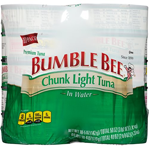 BUMBLE BEE Chunk Light Tuna in Water, Canned Tuna Fish, High Protein Food, 5oz Can (Pack of 10)
