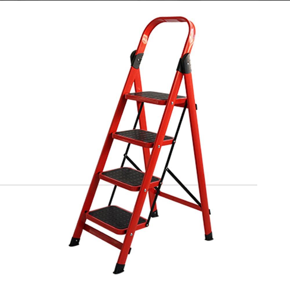 QFFL tideng Escalera de peldaños Escalera plegable de cuatro escalones Escaleras gruesas de escalera multifuncionales para interiores Escalera mecánica de ingeniería roja (Color : Red): Amazon.es: Bricolaje y herramientas