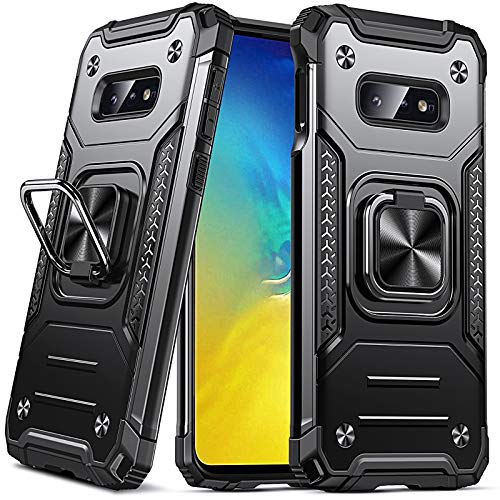 Anqrp Galaxy S10e Case, Military Grade Protective Phone Case Cover with Enhanced Metal Ring Kickstand [Support Magnet Mount] Compatible with Samsung Galaxy S10e, Black