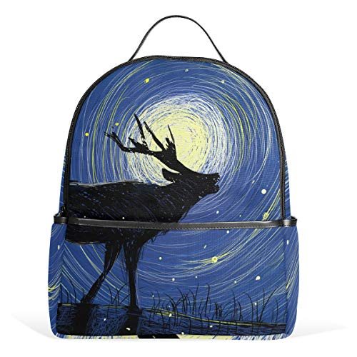 Mr.XZY Cute Reindeer Moon Watercolor Painting Multipurpose Bookbag School Bag Lovely Animal Mysterious Fairy Tale Hiking Daypacks Outdoor 3-Day Travel Backpack Sports Bag Cases Unisex 2010481