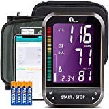 Misuratore di Pressione da Braccio Digitale Bluetooth APP per iOS e Android, Sfigmomanometro 1byone Monitor Wireless con Grande Bracciale 22-42 cm, Esporta dati come Excel, 4 Batterie incluse