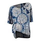 CHMORA Camiseta de manga corta para mujer, estilo casual, suelta, cuello redondo, retro, con estampado de mariposa de diente de león