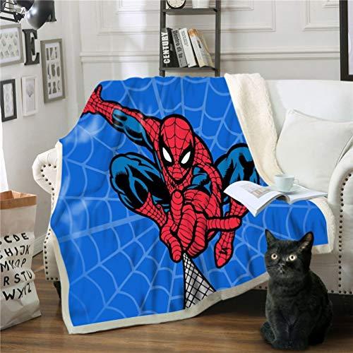 DFTY Marvel Spiderman Decke, Anime, Cartoon, digitaler 3D-Druck, Kinderdecke für Zelten, Picknicks, Büro und Wanderungen, Mikrofaser, 5, 150*200CM