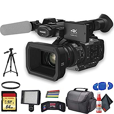 Panasonic AG-UX180 4K Professional Camcorder (AG-UX180PJ8) with UV Filter, Tripod, Padded Case, LED Light, 64GB Memory Card and More Starter Bundle by Panasonic