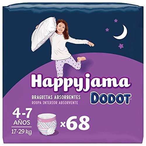 Dodot Pañales HappyJama para Niña 4 -7 Años (17-29 kg), 68 Unidades, Pañal con Protección Anti-Fugas Durante la Noche