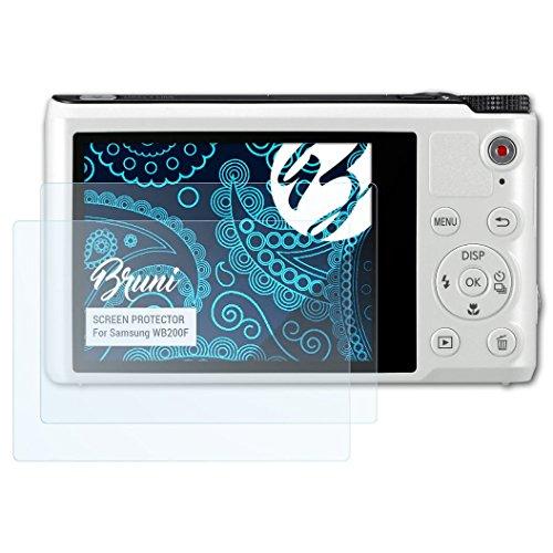 Bruni Schutzfolie kompatibel mit Samsung WB200F Folie, glasklare Displayschutzfolie (2X)