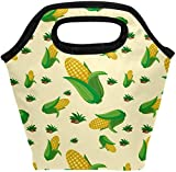 Bolsa de almuerzo callos amarillo con patrón de hojas verdes linda lonchera aislada bolso portátil térmico contenedor de alimentos enfriador reutilizable