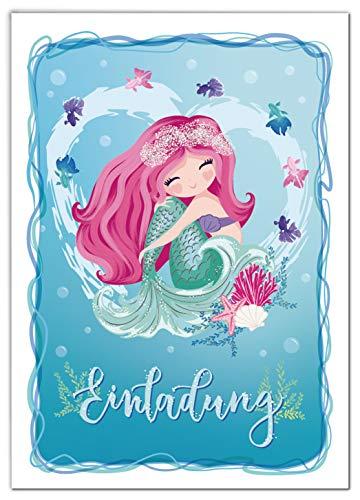 JuNa-Experten 12 Einladungskarten zum Kindergeburtstag Mädchen Meerjungfrau Einladungen zum Geburtstag