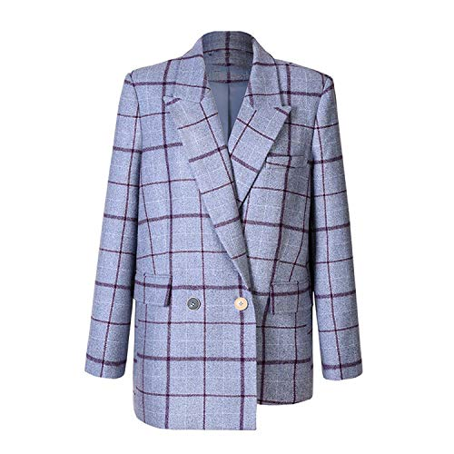 Green Plaid Tweed pak jas vrouwen getest wollen blazer losse asymmetrie casual bovenkleding winterjas jas jas