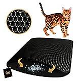 F ® FLLUFFY Katzenklo Matte, Katzenstreu Matte als Unterlage für Katzentoilette, Schwarz, Klein 40 x 50 cm