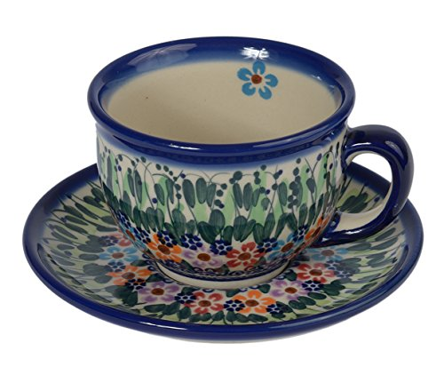Tradicional polaco Pottery, de cerámica artesanal taza y platillo 210ml, Boleslawiec estilo patrón, f.101 Daisy collection