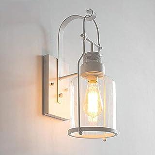Rishx Lámpara de pared industrial antigua en estilo náutico Aplique de pared vintage blanco con sombrilla de botella LED Dormitorio Lámpara de cabecera Salón Pasillo Escaleras Decoración Aplique de i