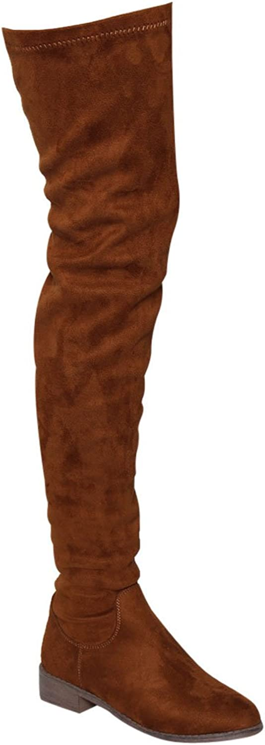 Nature Breeze FF05 Women's Stretchy Thigh High Snug Fit Low Block Heel Boots