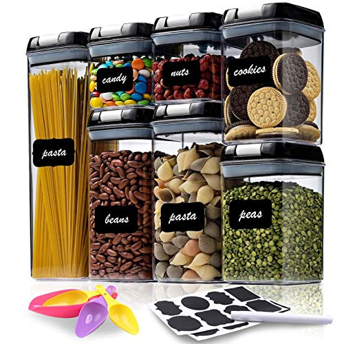 Airtight Food Storage Container Set - 7 PC - Kitchen & Pantry Organization Containers Great for Flour, Cereal & Sugar - BPA-Free - Clear Plastic Canisters with Durable Lids - Labels, Marker & Spoon