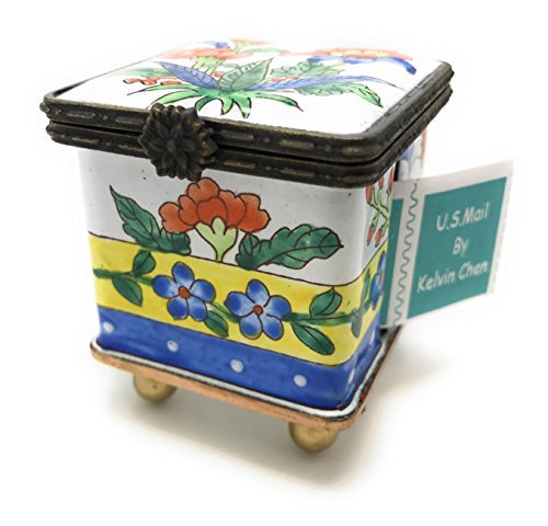Kelvin Chen Enameled Postage Stamp Holder - Floral 1.75