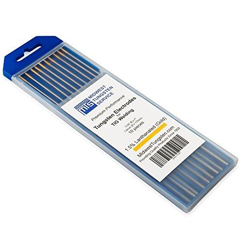 Electrodos de tungsteno de soldadura TIG 1,5% Lanthanated 1,6 mm x 175 mm (oro, WL15) 10 unidades
