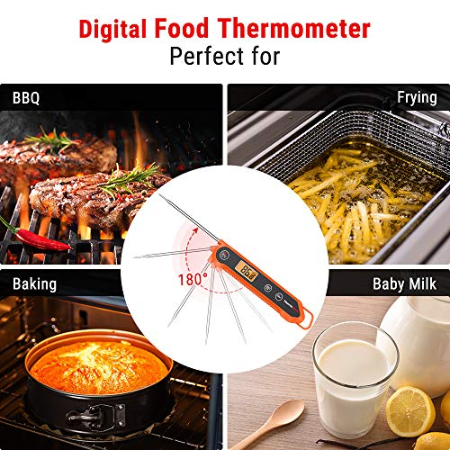ThermoPro Digital Instant Read Meat Thermometer for Grilling Waterproof Kitchen Food Thermometer with Calibration & Backlight Smoker Oil Fry Candy Thermometer