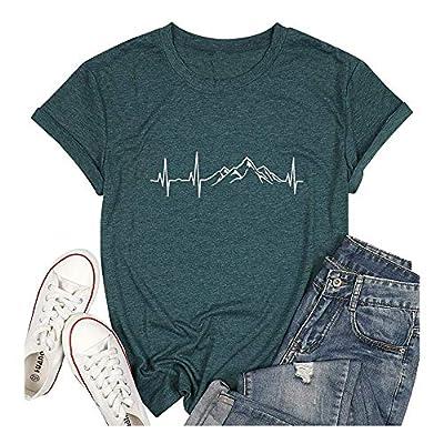 Chulianyouhuo Mountain Heartbeat Graphic Shirts for Women Funny Hiking Shirt Casual Camping Travel Tee Tops Blue