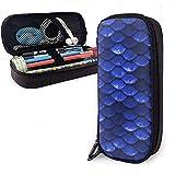 Estuche para lápices, mayor capacidad   Práctico estuche diseñado para porta lápices Bolso para escuela - Hermosas escamas de pez sirena azul marino cobalto