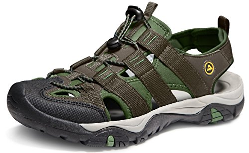 ATIKA Men's Outdoor Hiking Sandals, Closed Toe Athletic Sport Sandals, Lightweight Trail Walking Sandals, Summer Water Shoes, All Terrain Orbital(m107) - Green, 7