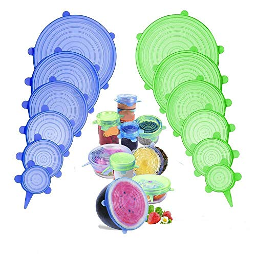 SunAurora Couvercle Silicone Alimentaire,12 Pcs Réutilisable Couvercles Silicone pour Alimentaire,Fruits,Tasses,Bols,Bocaux,Micro-Ondes/Four/Frigo,sans BPA