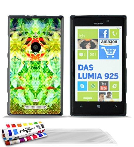 MUZZANO-Cover Morbida Ultra Sottile, per Nokia Lumia 925, Motivo Esotico, 3 pellicole Proteggi Schermo Trasparenti, Trasparenti, Pennino e Panno pulente Inclusi