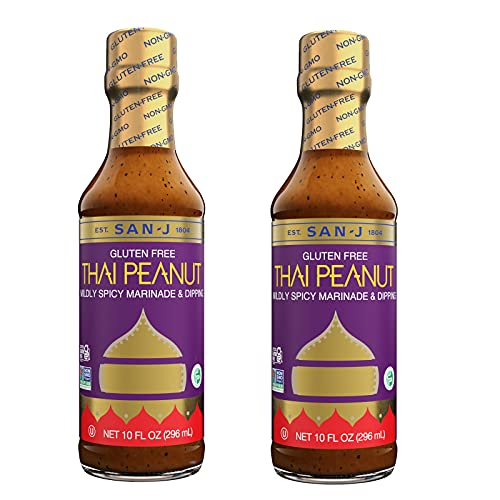 San-J Gluten Free Thai Peanut Sauce | Kosher, Non GMO, No Artificial Preservatives, FODMAP Friendly | Perfect Mildly Spicy Dipping Sauce for Your Favorite Dishes | 10 Fl Oz (Pack of 2)