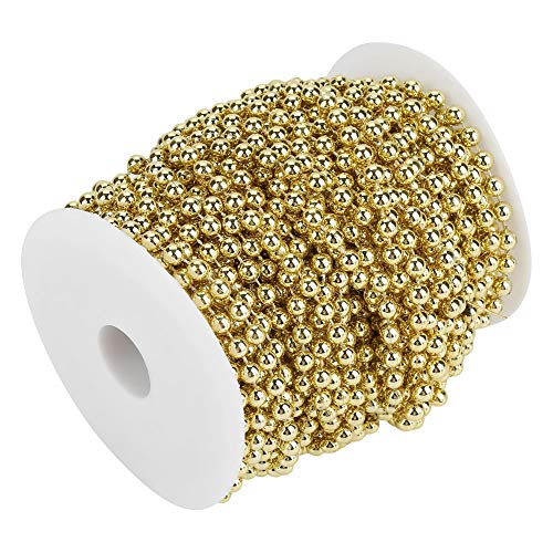 25m Long Pearl Wire Bead, ABS Electroplating Shiny Pearl Beaded Wire, Pearl Garland, for Crafts(Golden)