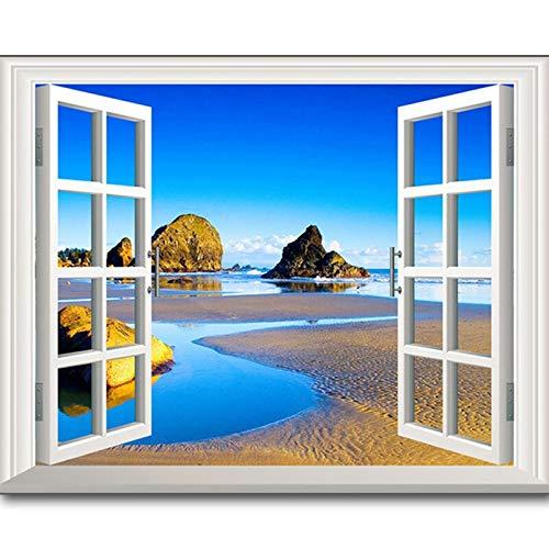 AQgyuh Puzzle 1000 Piezas Ventana Paisaje mar Completo Pintura Ventana Puzzle 1000 Piezas educa Juego de Habilidad para Toda la Familia, Colorido Juego de ubicación.50x75cm(20x30inch)