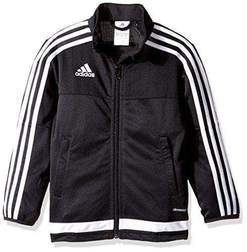 adidas Youth Soccer Tiro 15 Training Jacket, Black/White/Black, Medium