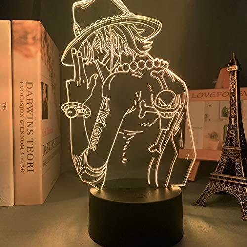 One Piece Portgas D Ace Luz de noche LED para decoración de dormitorio de niños Anime japonés One Piece ACE Lámpara 3d Regalo Lámpara de mesita de noche fresca, 7 colores sin control remoto
