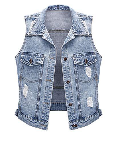Damen Destroyed Jeans-Weste Waistcoat Causal Lose Jeansjacke Ärmellos Waistcoat Hellblau XL