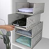 Hossejoy 4er-Pack stapelbarer Kleiderschrank Aufbewahrung Organizer Kunststoff abnehmbare Regale Schubladen Körbe Trennwände Boxen für Kleidung Kommode Kleiderschrank Schlafzimmer grau