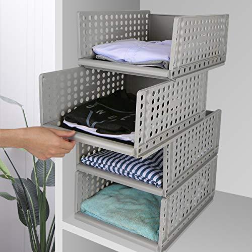 Hossejoy - Juego de 4 organizadores apilables de almacenamiento de armario de plástico, desmontables, cajones, cestas separadoras para ropa, vestidor, dormitorio, color gris