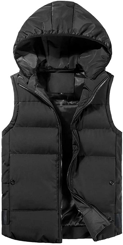 Ximandi Men's Autumn Winter Padded Cotton Sleeveless Vest Warm Hooded Thick Coat Jacket
